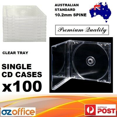 Premium Quality 100 x Jewel CD Case Standard Size CLEAR TRANSPARENT With Tray