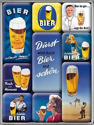 Magnet Set Bier Motive Brauerei  9 teilig in Box,neu