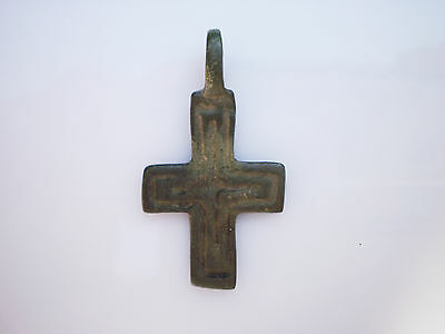 ANCIENT RARE Viking Bronze CROSS PENDANT Viking Kievan Rus 10 - 12 century AD