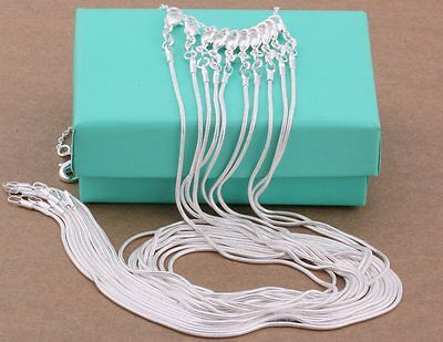 "wholesale 10PC 925sterling solid silver 1MM snake chain necklace 16""-30"" DC08"