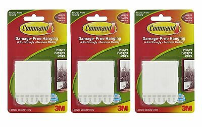 12 x 3M COMMAND MEDIUM PICTURE POSTER ADHESIVE DAMAGE FREE HANGING STRIPS