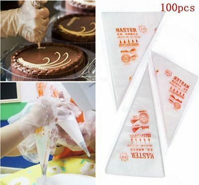 Lots 100PCS Disposable Piping bag Icing Nozzle Fondant Cake Decorating Pastry