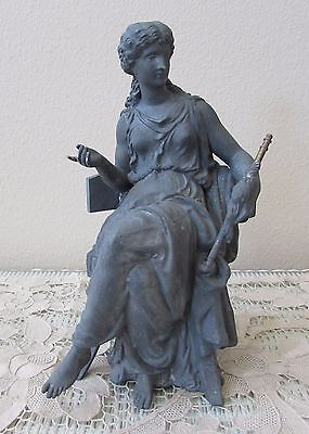 Large 1904 Antique ANSONIA Spelter Clock STATUE Female ~ INDUSTRY, Very HTF