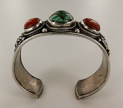 Superb Early 1900'S Asian Sterling Silver, Dyed Coral Torquoise  Heavy Bangle