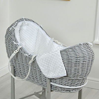 New 4Baby White Dimple Grey Wicker Baby Moses Basket / Snooze Pod & Mattress