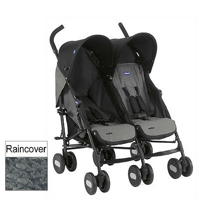 New Chicco Coal Echo Twin Stroller From Birth Lightweight Double Baby Pushchair