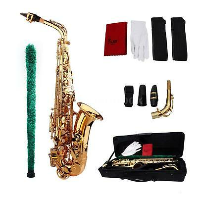 Professional Brass Golden Eb Alto Sax Saxophone with Case Accessories 0K1M