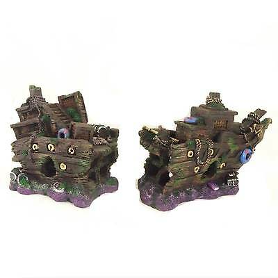 Large 2 Part Sunken Galleon Aquarium Shipwreck Ornament Fish Tank Decoration