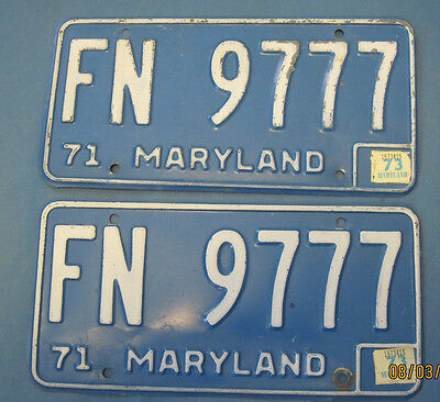 1973 Maryland License Plates matched pair