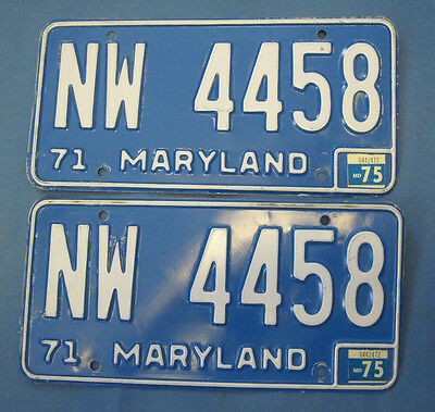 1975 Maryland License Plates Matched Pair nice original ones