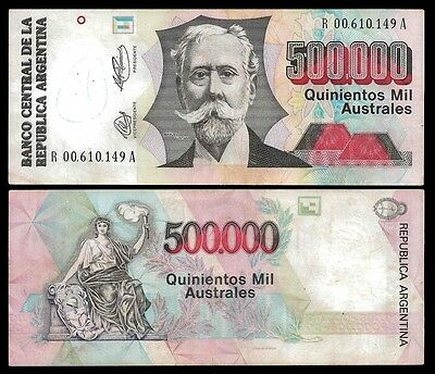 Argentina 500000 AUSTRALES Serie A ND 1991 P 338 REPLACEMENT
