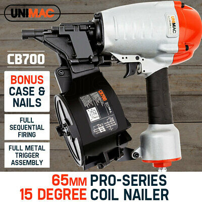 UNIMAC Coil Nail Gun Nailer 32-65mm Air Tool Decking Fencing Framing Industrial