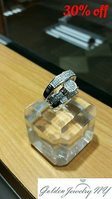 His and Hers 3 Pieces Sterling Silver and CZ Engagement Wedding Three Ring Set.