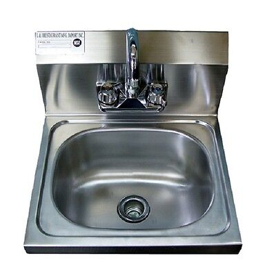"New Commercial Stainless Steel Wall Mounted Hung Hand Sink NSF - 17"" x 15"" x 5"""