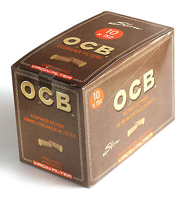 10 x OCB Unbleached VIRGIN Cigarette filter TIPS x 150 filters = 1 box