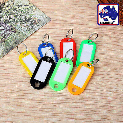 20x Small Plastic Keychain Key Tags Label Name Little Tag Ring Luggage HLTAG 77
