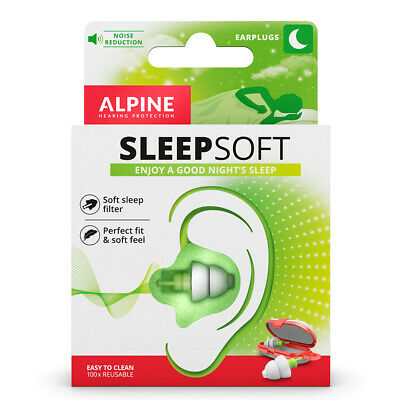 Alpine SleepSoft Reusable Sleeping EarPlugs Comfort Study Snoring Ear Plugs