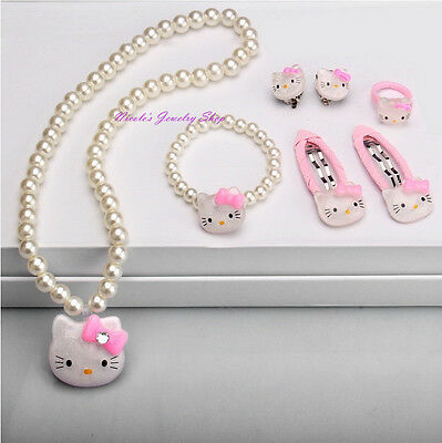 Lovely Girls Hello Kitty Jewelry Set Necklace Bracelet Ring Earrings Hair Clips