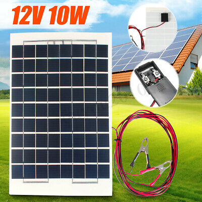 10W 12V Camping Solar Panel Cell Module+4m Cable Battery Charger For RV Car Boat