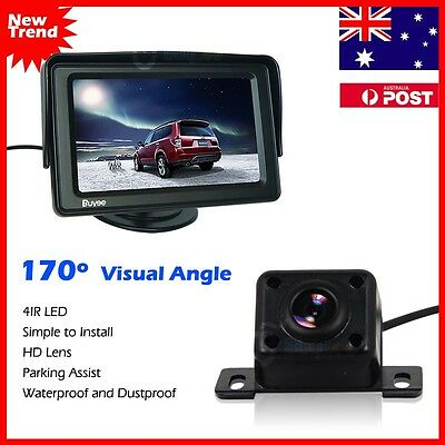 "Car Rear View Kit 4.3"" TFT Monitor +HD IR LED Night Vision Reversing Camera 170°"