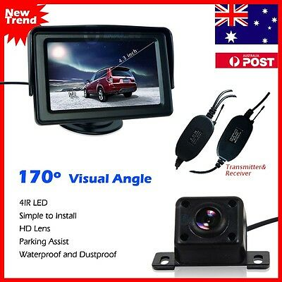 "Wireless Car Rear View Kit 4.3"" LCD Monitor +IR Night Vision Reversing Camera AU"