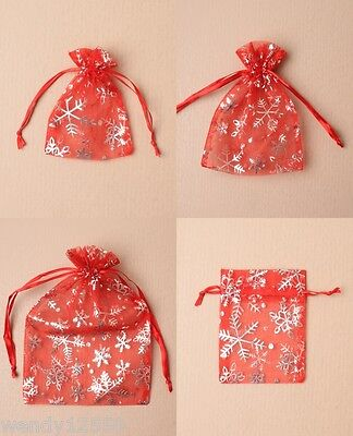 Pack Of Red Organza Bags With Silver Snowflake Print; Christmas, Gift, Jewellery