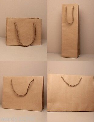 Pack Of Brown Gift Bags With Cord Handle ; Present, Party, Gift, Christmas