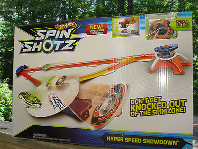 Hot Wheels SPIN SHOTZ Hyper Speed Showdown toy play set Special Edition Disc NEW