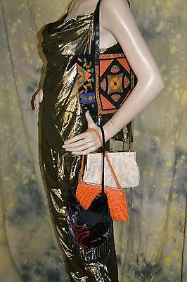 vtg and new LOT of 4 purse handbag bag ETHNIC BOHEMIAN beaded GLAM fun BURNOUT