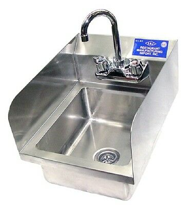 "New Commercial Wall Hung Hand Sink with Side Splashes NSF - 17""W x 15""L x 5""D"