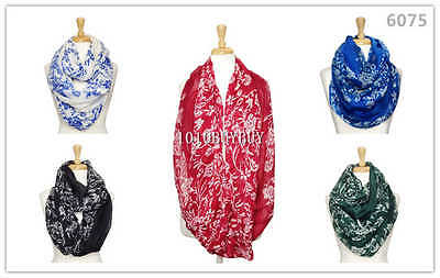 US Wholesaler 12PC Assorted Colors Florals Soft Infinity Scarf #6075