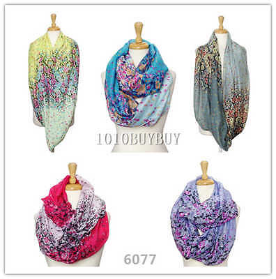 US Wholesaler 12PC Assorted Colors Small Florals Soft Infinity Scarves #6077