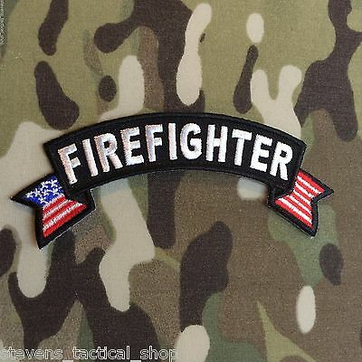 Firefighter Small American Flag Rocker Patch
