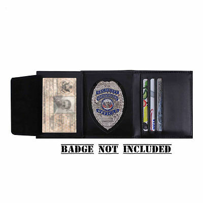 Police Security Guard Officer Badge Shield & ID Black Leather Tri-Fold Wallet