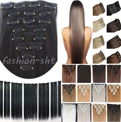 "100% Full Head Clip In Remy Human Hair Extensions 15"" 18"" 20"" 70g Hair Weft"