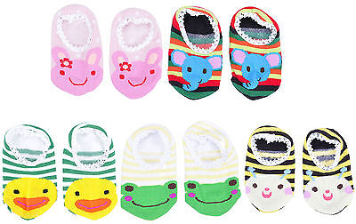 5 Pairs Cartoon Newborn Baby Girl Boy Anti-slip Socks Slipper Shoes Boots