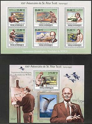 Mozambique 2009 Peter Scott Ornithologist Birds sheet of 6 + S/S MNH**