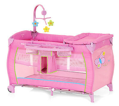 New Hauck Butterfly Babycenter Portable Baby Travel Cot Basinette Childs Playpen