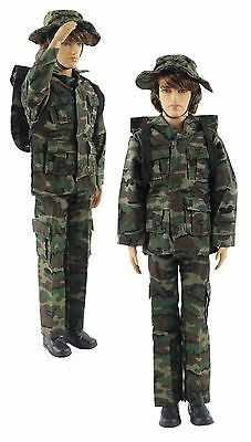 Military-style camouflage clothes/Outfit Top+Pants+Bag+Hat For 12 inch Ken Doll
