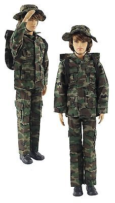 Military-style camouflage clothes/Outfit Top+Pants+Bag+Hat For Barbie's BF Ken
