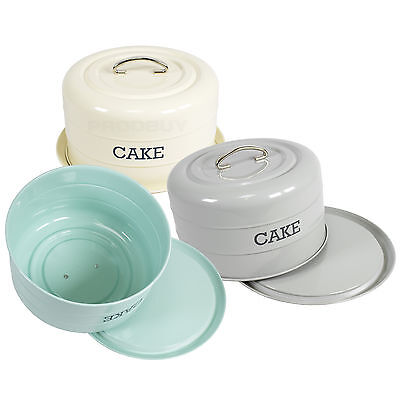 Retro Vintage Cake Storage Tin Holder Plate Stand Store Dome Kitchen Worktop