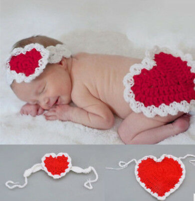 Newborn Baby Girls boys Crochet Knit Costume Photo Photography Prop Outfits Love