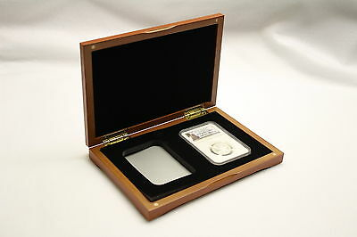 Cherry Finish Display Case for 2 NGC Graded Coin Slabs with Black Felt Interior