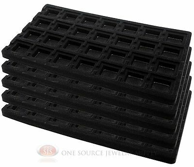 5 Black Insert Tray Liners W/ 28 Compartments Drawer Organizer Jewelry Displays