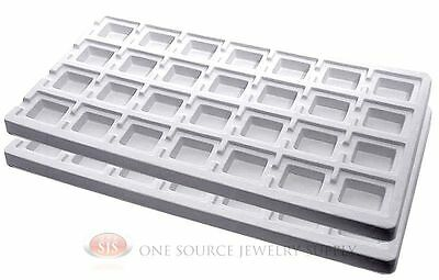 2 White Insert Tray Liners W/ 28 Compartments Drawer Organizer Jewelry Displays