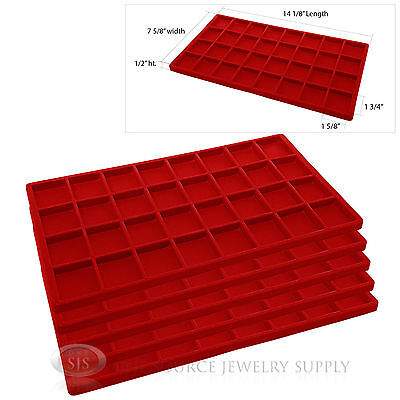 5 Red Insert Tray Liners W/ 32 Compartments Drawer Organizer Jewelry Displays