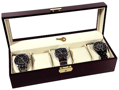 5 Watch Rosewood Display Storage Case Glass Top
