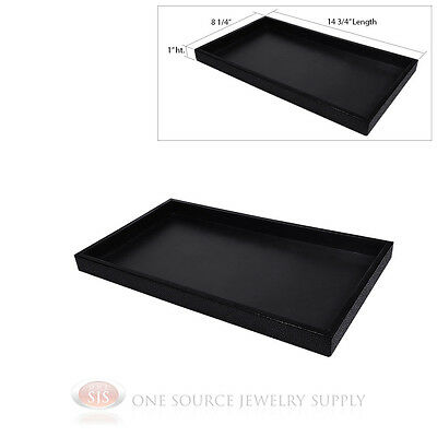 (1) Black Plastic Display Sample Tray Jewelry Organizer Travel Stackable Trays