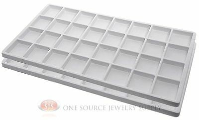 2 White Insert Tray Liners W/ 32 Compartments Drawer Organizer Jewelry Displays