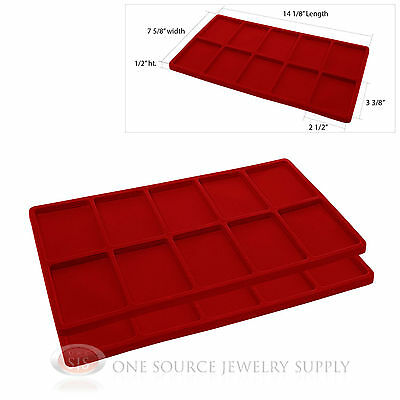 2 Red Insert Tray Liners W/ 10 Compartments Drawer Organizer Jewelry Displays